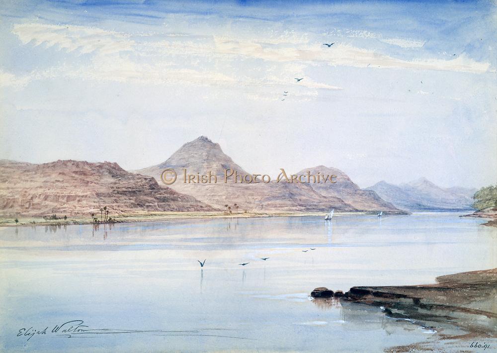 Gebel-el-Mody - Nubia', 1861. Watercolour. Elijah Walton (1832-1880) British artist. Egypt Landscape River Nile