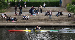 © Licensed to London News Pictures.13/06/15<br /> Durham, England<br /> <br /> Spectators sit and watch the racing during the 182nd Durham Regatta rowing event held on the River Wear. The origins of the regatta date back  to commemorations marking victory at the Battle of Waterloo in 1815. This is the second oldest event of this type in the country and attracts over 2000 competitors from across the country.<br /> <br /> Photo credit : Ian Forsyth/LNP