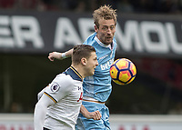 Football - 2016 / 2017 Premier League - Tottenham Hotspur vs. Stoke City<br /> <br /> Peter Crouch of Stoke City and Kevin Wimmer of Tottenham at White Hart Lane.<br /> <br /> COLORSPORT/DANIEL BEARHAM