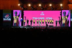 BOLOGNA, ITALY - MAY 09: Primoz Roglic of Slovenia and Team Jumbo - Visma / Koen Bouwman of The Netherlands and Team Jumbo - Visma / Laurens De Plus of Belgium and Team Jumbo - Visma / Sepp Kuss of The United States and Team Jumbo - Visma / Tom Leezer of The Netherlands and Team Jumbo - Visma / Paul Martens of Germany and Team Jumbo - Visma / Antwan Tolhoek of The Netherlands and Team Jumbo - Visma / Jos Van Emden of The Netherlands and Team Jumbo - Visma / during the 102nd Giro d'Italia 2019, Team Presentation / Piazza Maggiore di Bologna / Tour of Italy / #Giro / @giroditalia / on May 09, 2019 in Bologna, Italy.
