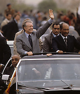 President Carter and Presiden anwar Sadat in a parade in Cairo   during the visit of President Jimmy Carter to Egypt in March (7-9) 1979.<br /> <br /> Photograph by Dennis Brack<br /> bb45