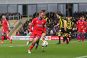 Oldham midfielder Liam Kelly wins the ball during the Sky Bet League 1 match between Burton Albion and Oldham Athletic at the Pirelli Stadium, Burton upon Trent, England on 26 March 2016. Photo by Aaron Lupton.