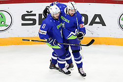 Anze Kuralt of Slovenia and Matic Podlipnik of Slovenia celebrate during Ice Hockey match between National Teams of Italy and Slovenia in Round #5 of 2018 IIHF Ice Hockey World Championship Division I Group A, on April 28, 2018 in Arena Laszla Pappa, Budapest, Hungary. Photo by David Balogh / Sportida