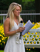 Maggie Wolfendale preparing to go on the pre-race NYRA TV show.