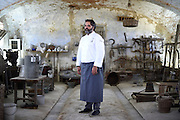 Marco Stabile, Chef and Italian President of the Jeunes Restaurateurs  d'Europe association, poses for a portrait during the annual meeting of the CCC Club des Chefs des Chefs in Tenuta Colombara in Livorno Ferraris, Vercelli, Italy, July 18, 2015.<br /> The Club des Chefs des Chefs, which is seen as the world's most exclusive gastronomic society, has extremely strict membership criteria: to be accepted into this highly elite club, you need to be the current personal chef of a head of state. If he or she does not have a personal chef, members can be the executive chef of the venue that hosts official State receptions. One of the society's primary purposes is to promote major culinary traditions and to protect the origins of each national cuisine. The Club des Chefs des Chefs also aims to develop friendship and cooperation between its members, who have similar responsibilities in their respective countries. <br /> The annual meeting of the Club has been hosted this year in the production site of the Italian rice company called Riso Acquerello. <br /> © Giorgio Perottino