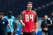 Cameron Brate (TE, Tampa Bay Buccaneers) arrives during the NFL UK Media Day at Tottenham Hotspur Stadium, London, United Kingdom on 3 July 2019.