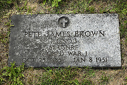 31 August 2017:   Veterans graves in Park Hill Cemetery in eastern McLean County.<br /> <br /> Pete James Brown Illinois S1 USNRF  World War I  Oct 25 1885  Jan 8 1951