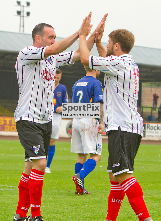 Berwick Rangers v Dunfermline Athletic Pre Season friendly Shielfield Park 19 July 2014<br /> Michael Moffat celebrates his first DAFC goal with provider Andrew Stirling<br /> <br /> CRAIG BROWN | sportPix.org.uk