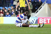 Queens Park Rangers forward Idrissa Sylla (40) smiling whilst sat on floor during the EFL Sky Bet Championship match between Queens Park Rangers and Burton Albion at the Loftus Road Stadium, London, England on 28 January 2017. Photo by Matthew Redman.