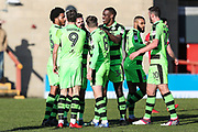 Forest Green Rovers Chris Clements(22) scores a goal 0-1 and celebrates with his team mates during the EFL Sky Bet League 2 match between Morecambe and Forest Green Rovers at the Globe Arena, Morecambe, England on 17 February 2018. Picture by Shane Healey.