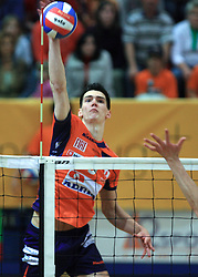 Alen Sket of ACH at last final volleyball match between OK ACH Volley and Salonit Anhovo, on April 21, 2009, in Arena SGS Radovljica, Slovenia. ACH Volley won the match 3:0 and became Slovenian Champion. (Photo by Vid Ponikvar / Sportida)