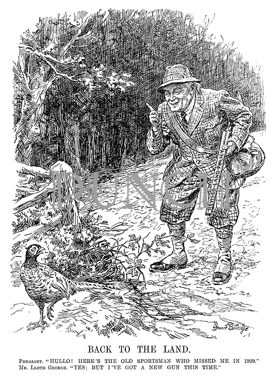 "Back to the Land. Pheasant. ""Hullo! Here's the old sportsman who missed me in 1909."" Mr Lloyd George. ""Yes; but I've got a new gun this time."" [Lloyd George holds the Revised Land Policy gun]"