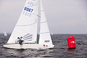 Tomas Hornos' Team Doyle leading the Star Class fleet  during Bacardi Newport Sailing Week, day 3.