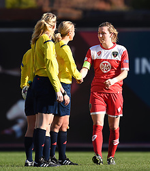 Bristol Academy's Grace McCatty thanks the officials after the UEFA Women's Champions League  - Photo mandatory by-line: Paul Knight/JMP - Mobile: 07966 386802 - 21/03/2015 - SPORT - Football - Bristol - Ashton Gate Stadium - Bristol Academy v FFC Frankfurt - UEFA Women's Champions League