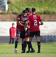 Dundee&rsquo;s Darren O&rsquo;Dea congratualtes Dundee&rsquo;s Sofien Moussa after the Tunisian striker had completed his hat-trick - Cowdenbeath v Dundee in the Betfred Cup at Central Park, Cowdenbeath - Picture by David Young<br /> <br />  - &copy; David Young - www.davidyoungphoto.co.uk - email: davidyoungphoto@gmail.com
