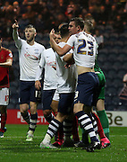 Preston players appeal to the ref after Paul Hungtington is fouled during the Sky Bet Championship match between Preston North End and Nottingham Forest at Deepdale, Preston, England on 3 November 2015. Photo by Pete Burns.