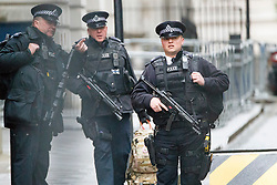 © Licensed to London News Pictures. 27/04/2017. London, UK. Armed police officers protect Downing Street after a man was arrested carrying what is reported to be a bag of knives on Whitehall in Westminster, central London on 27 April 2017. Photo credit: Tolga Akmen/LNP