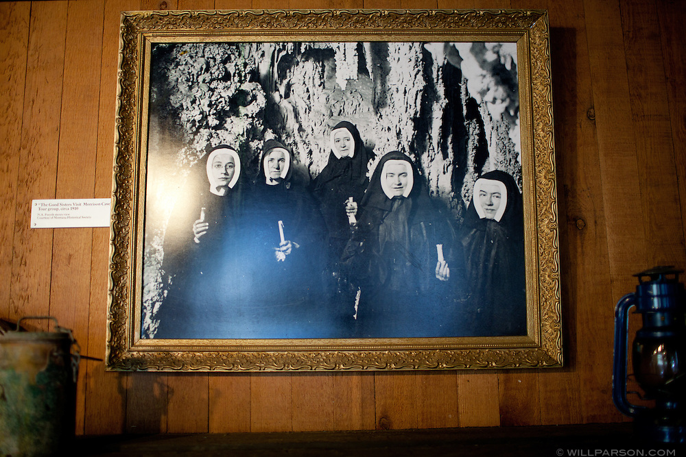 A photo in the visitor's center at Lewis and Clark Caverns State Park depicts several nuns entering the caverns.