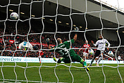 Goal - Jayden Bogle (37) of Derby County scores a goal beating goalkeeper Niki Maenpaa (33) of Bristol City to give a 0-2 lead to the away team during the EFL Sky Bet Championship match between Bristol City and Derby County at Ashton Gate, Bristol, England on 27 April 2019.
