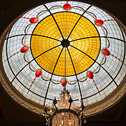 A leadlight domed ceiling inside the historic Carrington Hotel in Katoomba in the Blue Mountains of New South Wales, Australia. The Carrington is an historic hotel established in 1880.