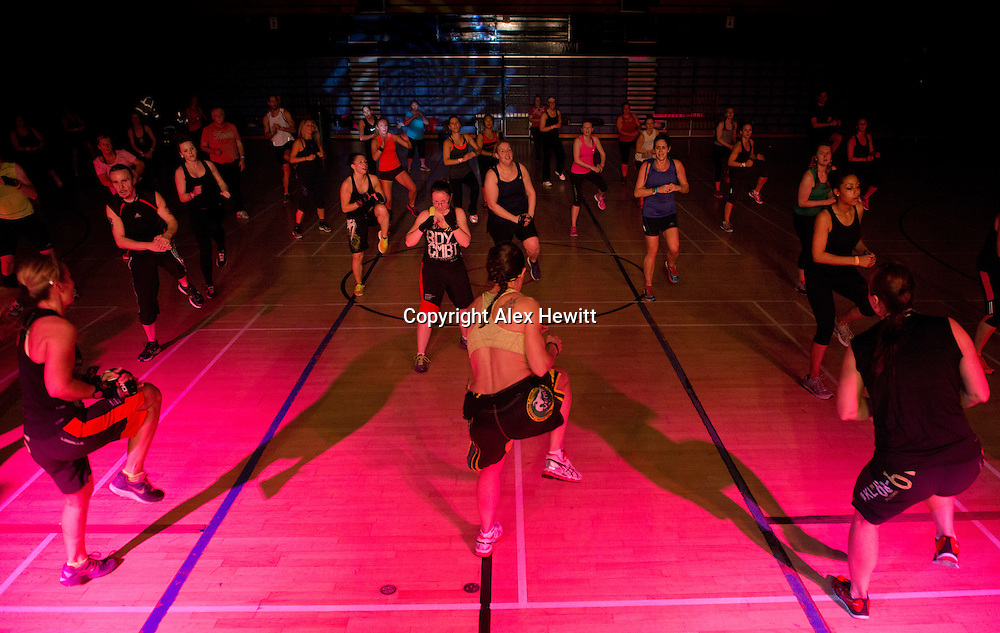 Super Saturday Body Combat at Meadowbank sports centre in Edinburgh. 4th October 2014<br /> <br /> Photograph by Alex Hewitt<br /> alex.hewitt@gmail.com<br /> 07789 871540