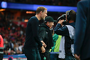 Thomas TUCHEL (PSG) laughed with Jean-LouisGASSET (AS Saint-Etienne) before starting the game during the French Championship Ligue 1 football match between Paris Saint-Germain and AS Saint-Etienne on September 14, 2018 at Parc des Princes stadium in Paris, France - Photo Stephane Allaman / ProSportsImages / DPPI