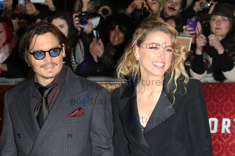 Johnny Depp, Amber Heard, Mortdecai - UK film premiere, Leicester Square, London UK, 19 January 2015, Photo by Richard Goldschmidt