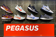 Oct 19, 2018; London, United Kingdom; General overall view of display of Nike Zoom Pegasus Turbo running shoes of at Niketown London.