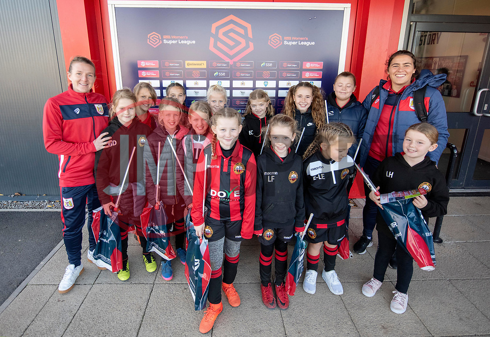 Frankie Brown and Eartha Cumings of Bristol City women pose with a group from Gloucester City LFC - Mandatory by-line: Paul Knight/JMP - 17/11/2018 - FOOTBALL - Stoke Gifford Stadium - Bristol, England - Bristol City Women v Liverpool Women - FA Women's Super League 1