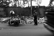 """NAIROBI, KENYA - AUGUST 15, 2011: Members of the Gange Youth Self Help Group in Kibera gather trash and transport it to a local dump site four to five times a day to generate income. Gange, which means """"hard working,"""" was started in 1996, and was the first youth reform project to take root in Kibera. Rashid Seif, 28, is a member of Gange Youth. """"We manage to go on with our life. For now, we can make peace. We want to be a peacemaker. We must come with our own vision. We have the idea to be stronger than last election. In the past election the money was the problem. When you show youth money, you encourage them to do whatever you want. We want the creation of jobs, not just to be given money. We say to the politician, 'We don't want your money, we want job opportunity, job creation.' But the government are not thinking about the youth and the community. They leave the youth struggling in their yards. We struggle with this work.""""<br /> <br /> Various grassroots initiatives led by youth have begun to improve the quality of life for those living in the direst of conditions, and young people of different tribes are using gardening, waste removal, education and athletics to encourage their peers toward a self-respecting and self-sustaining community. Termed """"youth groups"""" on the street, these initiatives could represent the future of long-term socioeconomic development in Kenya while laying the groundwork for a more peaceful election in 2013. During the post-election violence of 2007 and 2008, impoverished youth in Kenya were routinely bribed by the nation's political elite to carry out acts of violence in their communities. Idleness among the youth, combined with the nation's history of tribal rivalries, were cited as a key factors to the violence, culminating in the deaths of over 1,200 Kenyans and the displacement of over 600,000. Since the violence, many youth have begun to seize active roles in the reform of their nation. In 2010 United States Ambassador Michael Rann"""