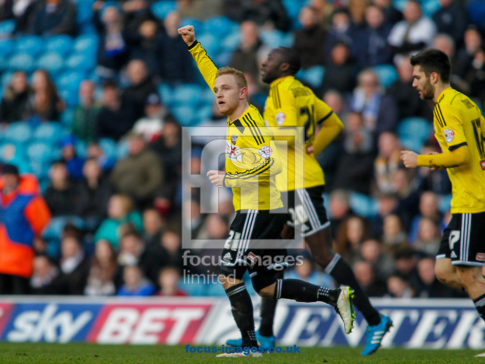 Alex Pritchard of Brentford salutes the travelling fans after scoring the first goal during the Sky Bet Championship match between Leeds United and Brentford at Elland Road, Leeds<br /> Picture by Mark D Fuller/Focus Images Ltd +44 7774 216216<br /> 07/02/2015