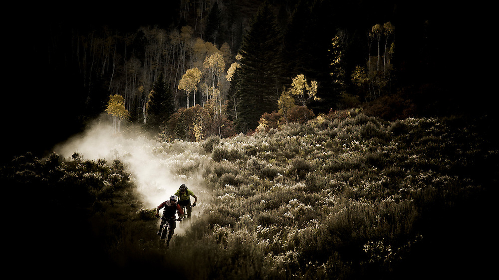 Rene Wildhaber and Ross Schnell ride their bike during the Red Bull Buffalo Soldier Mountain Bike Trip in USA Uncompahgre National Forest (Colorado), on October11th 2012.