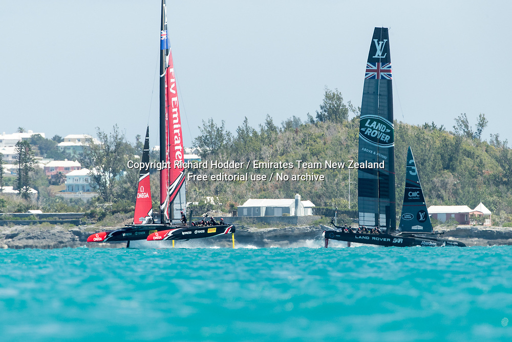 16/05/2017 - Emirates Team New Zealand sailing on Bermuda's Great Sound practice racing in the lead up to the 35th America's Cup.