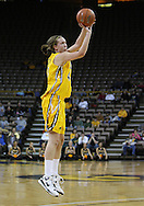 26 JANUARY 2009: Iowa center Megan Skouby (44) puts up a three point shot during the first half of an NCAA women's college basketball game Monday, Jan. 26, 2009, at Carver-Hawkeye Arena in Iowa City, Iowa. Iowa defeated Michigan 77-69.