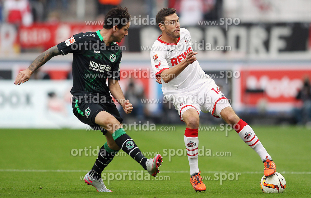 18.10.2015, Rhein Energie Stadion, Koeln, GER, 1. FBL, 1. FC Koeln vs Hannover 96, 9. Runde, im Bild Jonas Hector (1. FC Koeln #14) im Zweikampf gegen Leon Andreasen (Hannover 96 #2) // during the German Bundesliga 9th round match between 1. FC Cologne and Hannover 96 at the Rhein Energie Stadion in Koeln, Germany on 2015/10/18. EXPA Pictures &copy; 2015, PhotoCredit: EXPA/ Eibner-Pressefoto/ Schueler<br /> <br /> *****ATTENTION - OUT of GER*****
