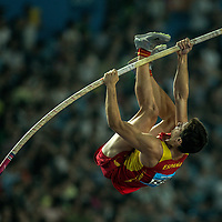 Gold medalist, Noel Del Cerro Vilalta of Spain competes in the Men's Pole Vault Final at the Nanjing Youth Olympic Games 2014 in Nanjing, China, 25 August 2014. The Nanjing Youth Olympic Games 2014 run from 16 to 28 August 2014.