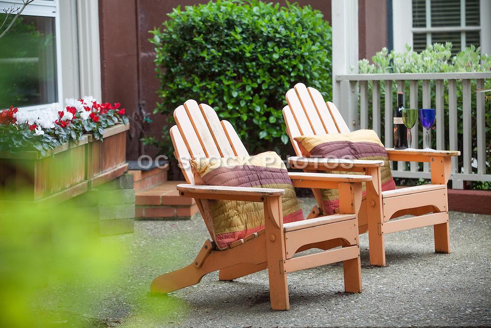 Wood Adirondack Chairs on the Patio
