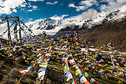 Prayer flags near Kyanjin Gompa Village, Langtang Valley, Nepal, on the 30th May 2009<br /> <br /> The village of Kyanjin Gompa was partially destroyed by the earthquake that struck Nepal at 11.56am on the 25th April 2015. <br /> <br /> PHOTOGRAPH BY AND COPYRIGHT OF SIMON DE TREY-WHITE<br /> <br /> + 91 98103 99809<br /> email: simon@simondetreywhite.com<br /> photographer in delhi