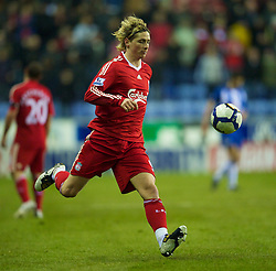 WIGAN, ENGLAND - Monday, March 8, 2010: Liverpool's Fernando Torres in action against Wigan Athletic during the Premiership match at the DW Stadium. (Photo by David Rawcliffe/Propaganda)