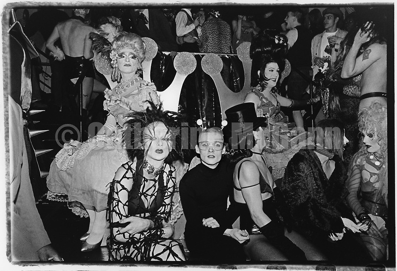 Winter 1994:  Seated:  Billy Beyond (center, with glasses), Joey Arias (top hat) and friends at the Club Kid King and Queen of New York contest at Limelight nightclub in New York City, WInter, 1994