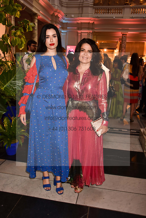"""Left to right, Lise Grendene and Daniella Helayel at the opening of """"Frida Kahlo: Making Her Self Up"""" Exhibition at the V&A Museum, London England. 13 June 2018."""