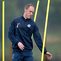 St Johnstone Training....21.09.15<br /> Steven Anderson pictured during training at a very wet McDiarmid Park this morning<br /> Picture by Graeme Hart.<br /> Copyright Perthshire Picture Agency<br /> Tel: 01738 623350  Mobile: 07990 594431