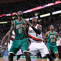 09 March 2012: Boston Celtics power forward Kevin Garnett (5) vies for the rebound with Portland Trail Blazers small forward Gerald Wallace (3) during the Boston Celtics 104-86 victory over the Portland Trail Blazers at the TD Banknorth Garden, Boston, Massachusetts, USA.