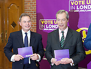 UKIP launch London Manifesto 2016 <br /> with Candidates for mayor and the London Assembly <br /> at the Emmanuel Centre, London, Great Britain <br /> 19th April 2016 <br /> <br /> Nigel Farage <br /> Leader of UKIP <br /> <br /> Peter Whittle <br /> Candidate for mayor of London <br /> <br /> <br /> <br /> Photograph by Elliott Franks <br /> Image licensed to Elliott Franks Photography Services