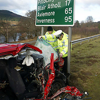 Fatal road traffic accident on the Jubilee Bridge just north of Dunkeld on the A9.<br />