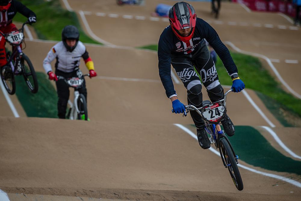#24 (SHARRAH Corben) USA at Round 2 of the 2020 UCI BMX Supercross World Cup in Shepparton, Australia.