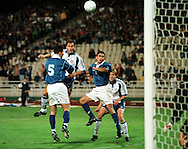 07.10.2000, Olympic Stadium, Athens, Greece. FIFA World Cup Qualifying match, Greece v Finland. Shefki Kuqi puskee yli maalin..©JUHA TAMMINEN