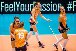 23-08-2017 NED: World Qualifications Belgium - Netherlands, Rotterdam<br /> De Nederlandse volleybalsters hebben op het WK-kwalificatietoernooi ook hun tweede duel in winst omgezet. Oranje overklaste Belgi&euml; en won met 3-0 (25-18, 25-18, 25-22). Eerder werd Griekenland ook al met 3-0 verslagen / Lonneke Sloetjes #10 of Netherlands