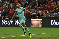 2018?7?28?.??????——?????????????????????????..7?28????????Mesut Ozil?10??????????????????????????.???? ??????..Arsenal player Mesut Ozil (No 10) celebrates after scoring in the International Champions Cup match between Arsenal and Paris Saint-Germain held in Singapore's National Stadium on Jul 28, 2018..By Xinhua, Then Chih Wey..??????????2018?7?28? (Credit Image: © Then Chih Wey/Xinhua via ZUMA Wire)