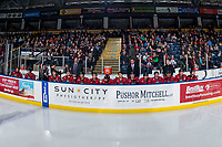 KELOWNA, CANADA - MARCH 16:  The Kelowna Rockets bench against the Vancouver Giants on March 16, 2019 at Prospera Place in Kelowna, British Columbia, Canada.  (Photo by Marissa Baecker/Shoot the Breeze)